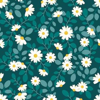 Margarita blanca linda flor estilo plano de patrones sin fisuras