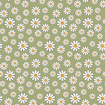 Margarita floral de patrones sin fisuras en estilo retro de los años 70