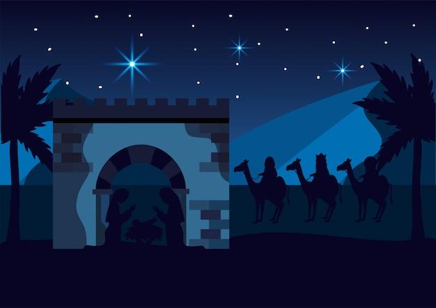 María y josé con jesús y magos reyes.
