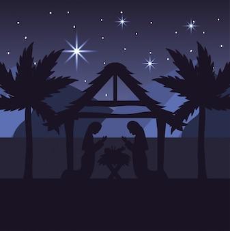 María y josé con jesús en el pesebre y las palmeras.