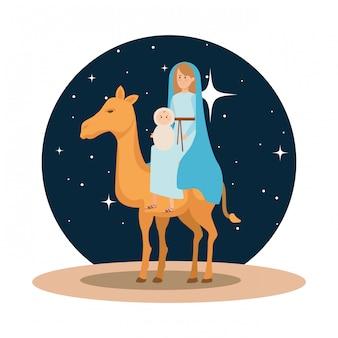María virgen con jesus bebe en camello.
