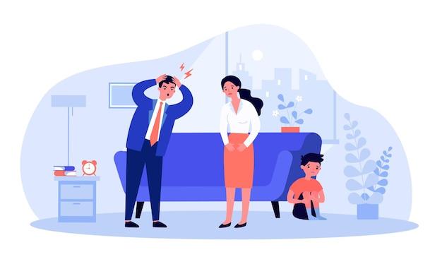 Marido gritando a la esposa mientras el hijo se esconde detrás del sofá. padre enojado, madre triste, ilustración de vector plano de niño asustado. familia, concepto de divorcio para banner, diseño de sitio web o página web de destino