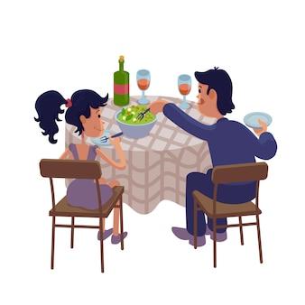 Marido y mujer cenando juntos ilustración de dibujos animados plana. pareja comiendo en la mesa plantilla de personaje 2d lista para usar para diseño comercial, de animación e impresión. héroe cómico aislado