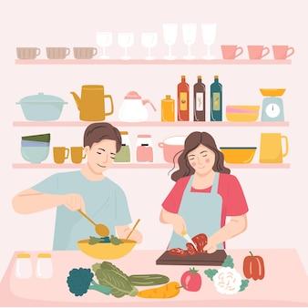 Marido y mujer cocinando juntos en la cocina