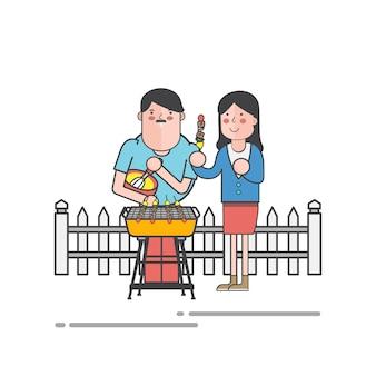 Marido y mujer teniendo un vector de barbacoa