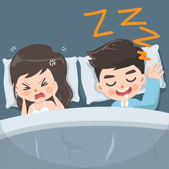 El marido ronca fuerte cada noche. Vector Premium