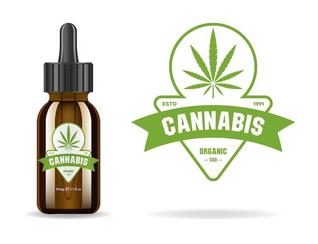 Marihuana, cannabis, aceite de cáñamo. botella de vidrio marrón realista con extracto de cannabis. etiqueta de producto icono y plantilla gráfica de logotipo. ilustración aislada
