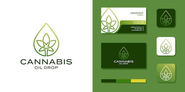 Marihuana cannabis con logo de gota de aceite