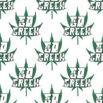 Marihuana sin costuras. vaya tipografía verde con hoja de marihuana.