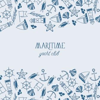 Marina dibujada a mano con inscripción y elementos e iconos náuticos en estilo vintage