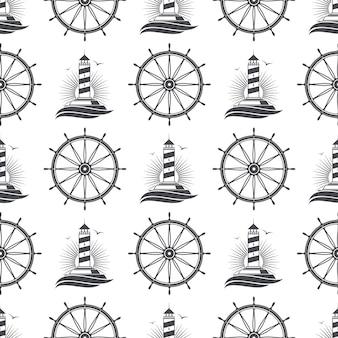 Marina náutica de patrones sin fisuras con faro vintage y rueda.