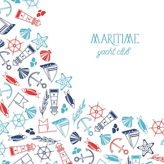 Marina vintage con ancla de barco dibujado a mano faro bandera de pez estrella de mar concha coral volante