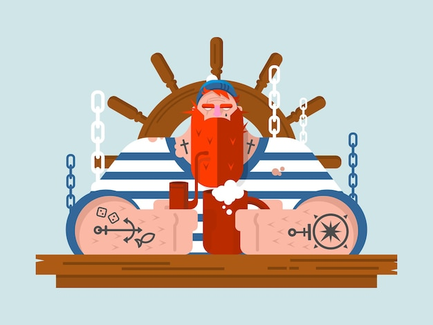 Marinero de carácter. persona hombre marino y volante de madera, náutico humano con barba, ilustración plana