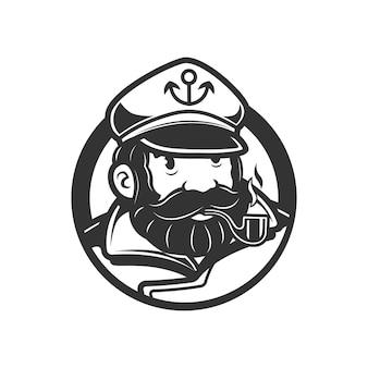 Marinero hombre vintage logo marinero con pipa de cigarrillo vector blanco y negro