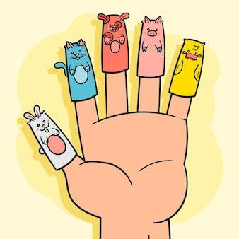 Marioneta de dedo dibujada a mano