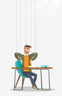 Marioneta del hombre de negocios en el funcionamiento de las cuerdas.