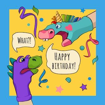 Marioneta de mano dragón y unicornio dicen feliz cumpleaños