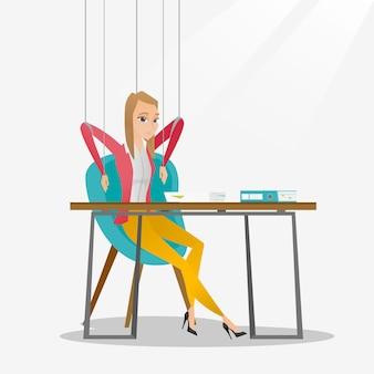 Marioneta de la mujer de negocios en el funcionamiento de las cuerdas.