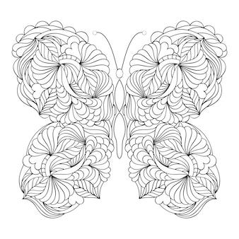 Mariposa abstracta sobre fondo blanco