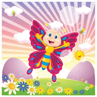 Mariposa de dibujos animados