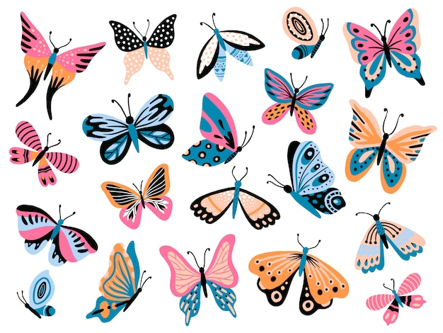 Mariposa dibujada a mano. flor de mariposas, alas de polilla y primavera colorida colección de insectos voladores aislados