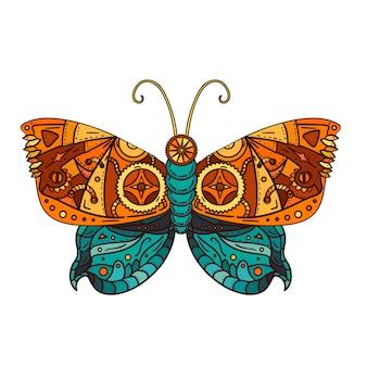 Mariposa fantástica en estilo steampunk para tatuajes, adhesivos, estampados y decoraciones.