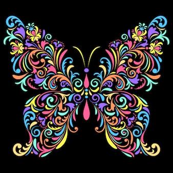 Mariposa floral sobre fondo negro
