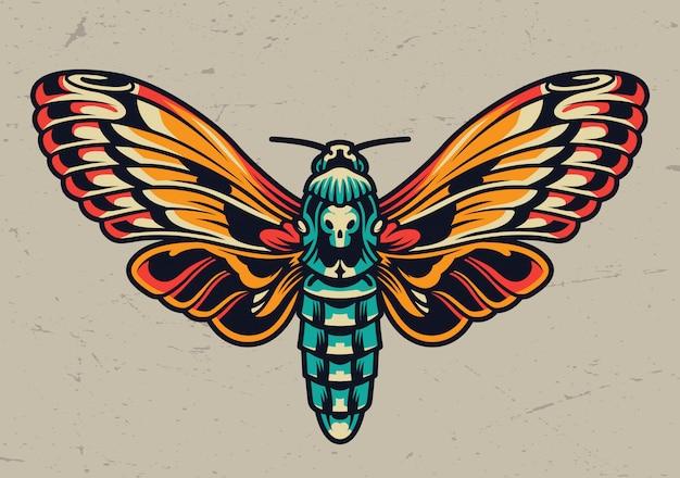 Mariposa hermosa colorida en estilo vintage