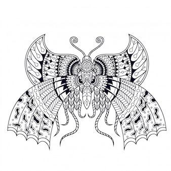 Mariposa ilustración, mandala zentangle y diseño de camiseta