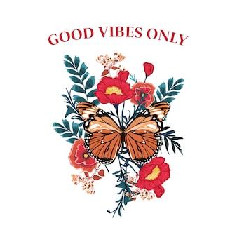Mariposa del lema con vector floreciente de la flor. redacción de la tipografía