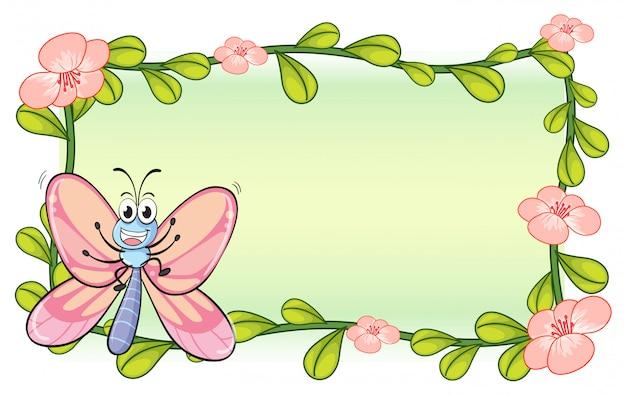 Una mariposa y un marco de plantas de flores.