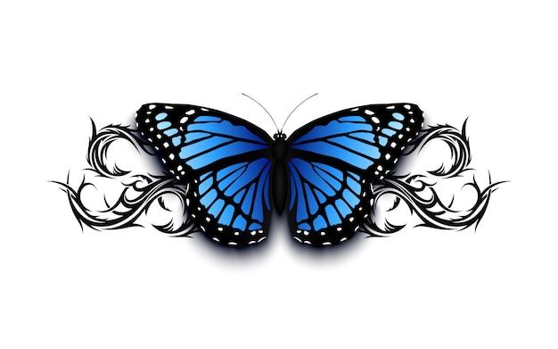Mariposa realista en la parte superior del ornamento tribal dibujado han abstracto. ilustración de plantilla de tatuaje.