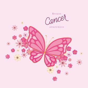 Mariposa rosa con flores de diseño de concientización sobre el cáncer de mama, campaña y tema de prevención