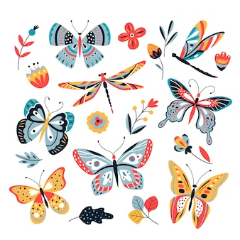 Mariposa sobre flores. insectos libélulas mariposas polilla y flor dibujado a mano, conjunto de dibujos
