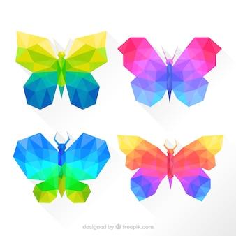 Mariposas de colores en estilo geométrico