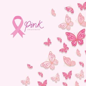 Mariposas de diseño de conciencia rosa, cáncer de mama y tema de campaña.
