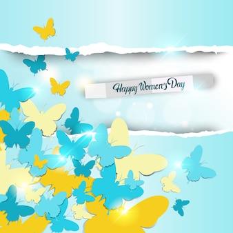 Mariposas y luces apiladas fondo del día de la mujer