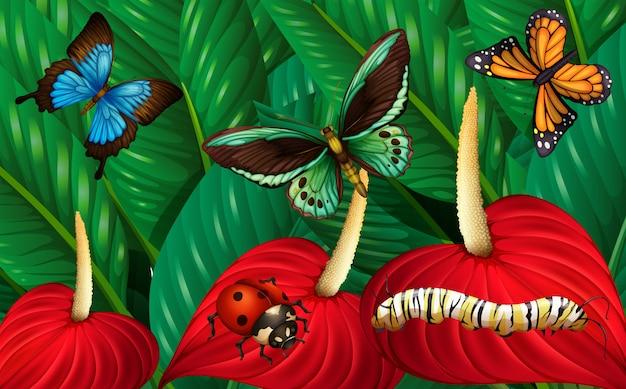 Mariposas y otros insectos en el jardín.