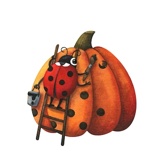 Una mariquita dibuja un patrón en una calabaza naranja otoñal. ilustración linda, divertida, de otoño