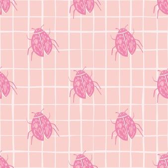 Mariquita siluetas de patrones sin fisuras doodle. insectos estilizados en tonos rosados.