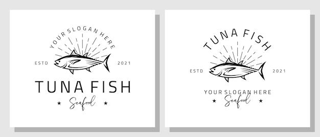 Mariscos atún pescado salmón fresco diseño logotipo lujo vintage