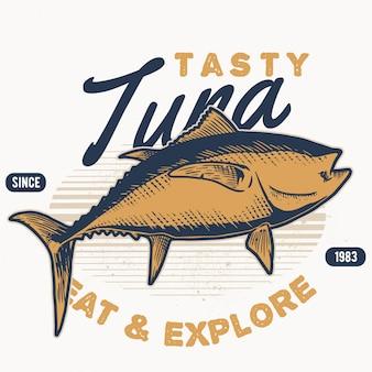 Mariscos de estilo handdraw de atún vintage