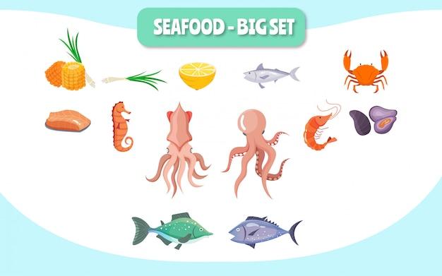 Mariscos grandes set ilustración concepto comida