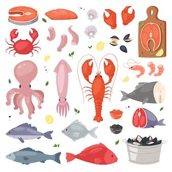 Mariscos, mariscos, mariscos y langosta en la ilustración del mercado de pescado conjunto de pesca de gambas de salmón para la cena gourmet del océano aislado sobre fondo blanco