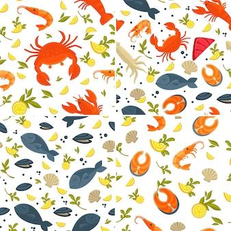 Mariscos patrones sin fisuras pescado y langosta cangrejo y langostino o camarón vector calamar y salmón ostras y moluscos rodajas de limón y vegetación restaurante o menú de cafetería platos y comidas textura sin fin