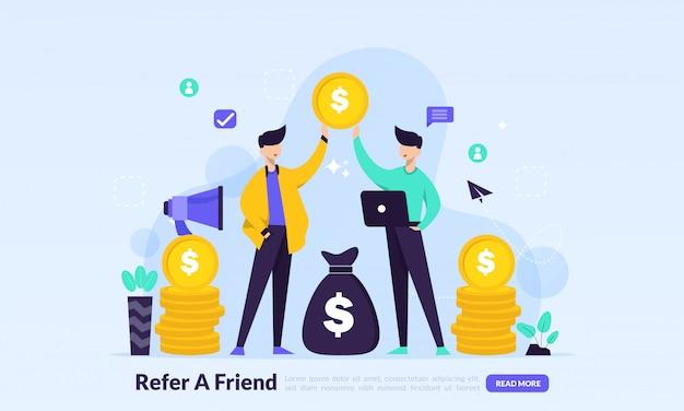 Marketing de afiliación, la gente comparte sobre referencias