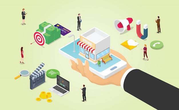 El marketing comercial omnicanal con varios medios, como el presupuesto de dinero en video y el equipo, trabajan con un estilo isométrico moderno