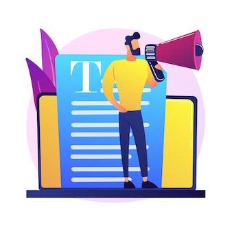 Marketing de contenidos y medios de comunicación. redacción de publicidad en internet. artículo promocional, noticias, radiodifusión. blogger, persona con megáfono.