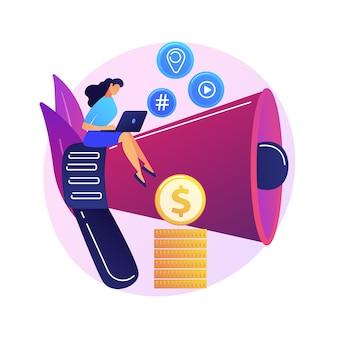 Marketing de contenidos. redacción publicitaria, blogs, redacción creativa. personaje de dibujos animados femenino sentado en megáfono. smm, elemento de diseño plano de promoción de internet.