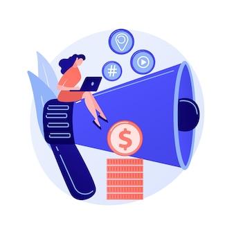 Marketing de contenidos. redacción publicitaria, blogs, redacción creativa. personaje de dibujos animados femenino sentado en megáfono. smm, ilustración de concepto de elemento de diseño plano de promoción de internet